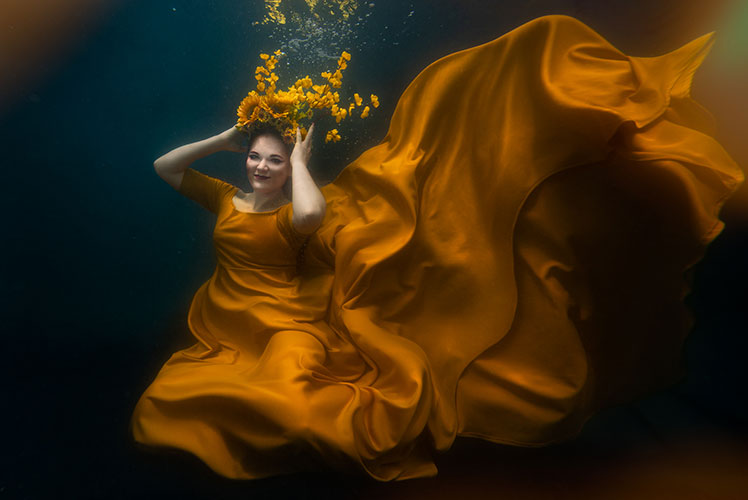 underwater portrait photography imagine gowns yellow dress